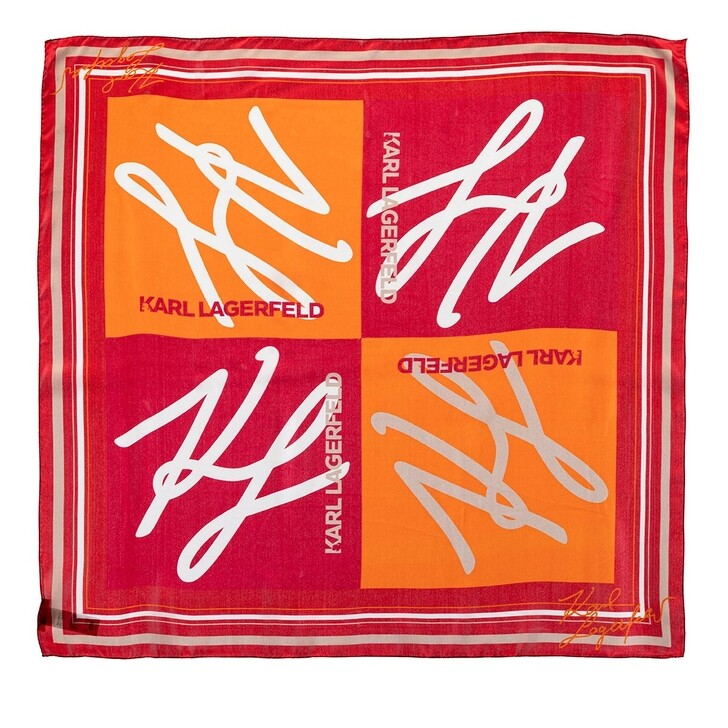 scarves, Karl Lagerfeld, Autograph Scarf Red