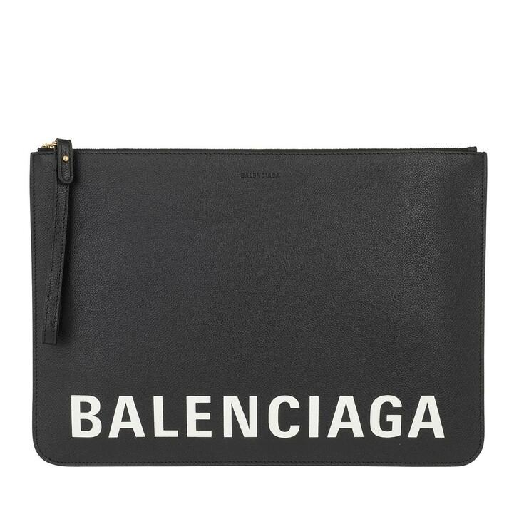 bags, Balenciaga, Logo Clutch Leather Black