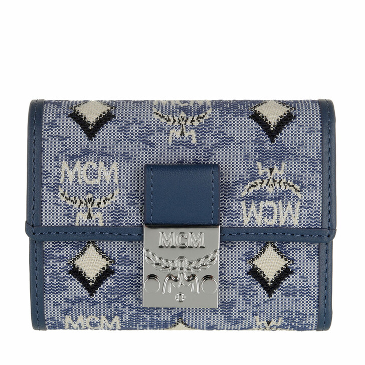 wallets, MCM, Visetos Jacquard Mini 3 Fold Wallet Blue