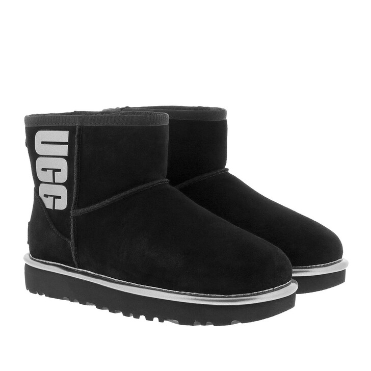 Schuh, UGG, W Classic Mini Rubber Logo Black Metallic