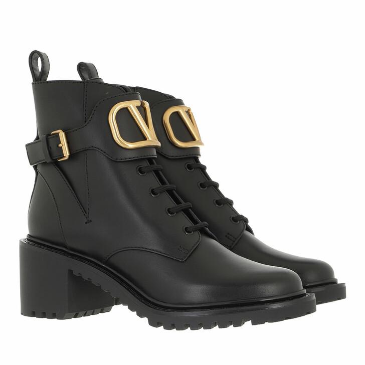 shoes, Valentino Garavani, V Logo Combat Boots Leather Black