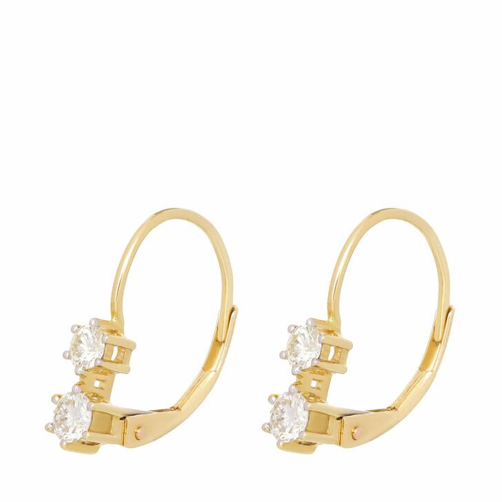 earrings, VOLARE, Earrings 4 Brill ca. 0,50 Yellow Gold