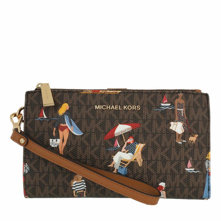 Handtasche, MICHAEL Michael Kors, Jet Set Double Zip Wristlet Purse Brown Multi