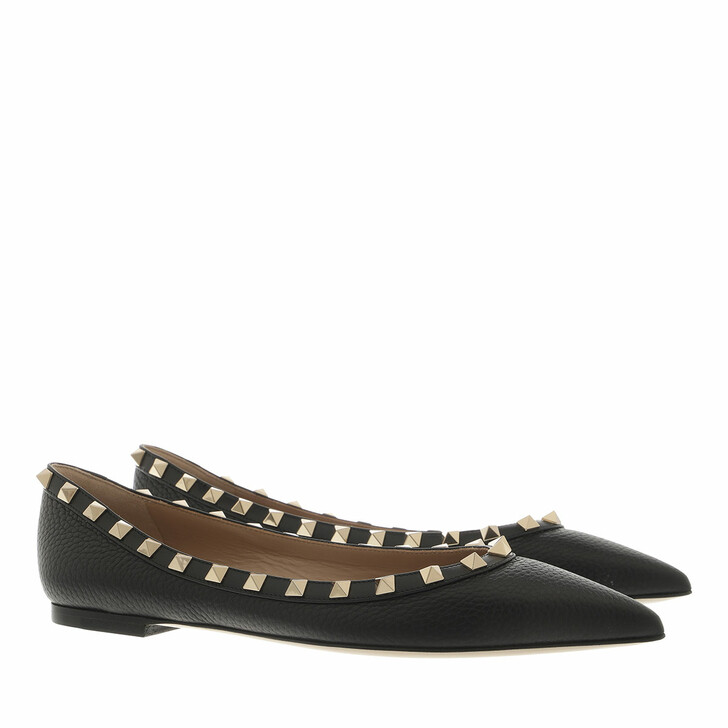shoes, Valentino Garavani, Rockstud Grained Leather Ballerina Black