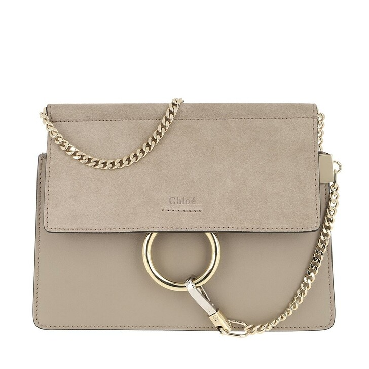 Handtasche, Chloé, Faye Mini Flap Shoulder Bag Motty Grey