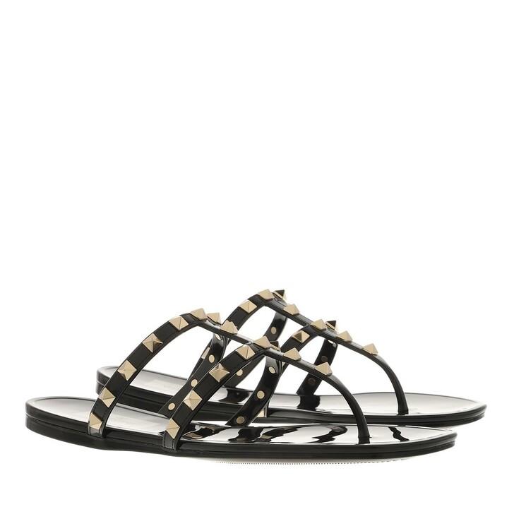 shoes, Valentino Garavani, Rockstud Thong Flat Sandals Rubber Black