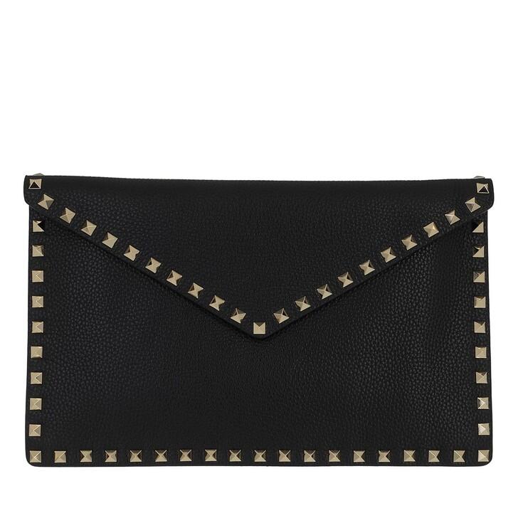 bags, Valentino Garavani, Rockstud Envelope Clutch Black