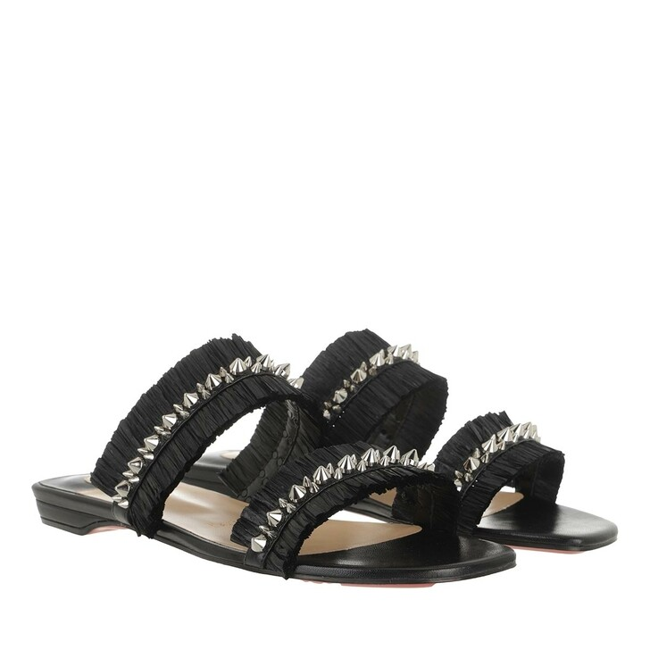 Schuh, Christian Louboutin, Marivodou Flat Mules Raffia Fringes  Black/Black