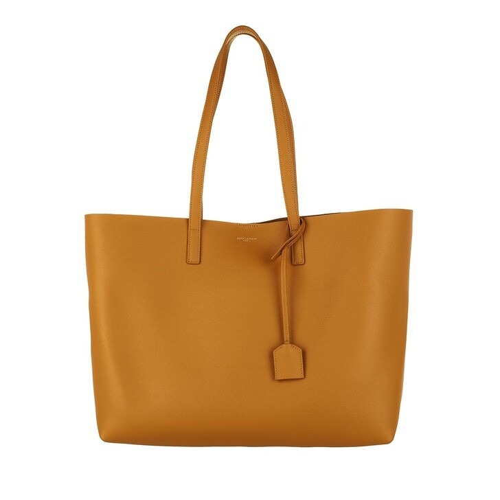 bags, Saint Laurent, East West Medium Tote Leather Dark Sun