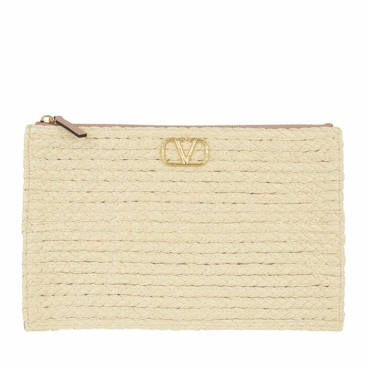 Handtasche, Valentino Garavani, Large Flat Pouch Leather Rose Canelle