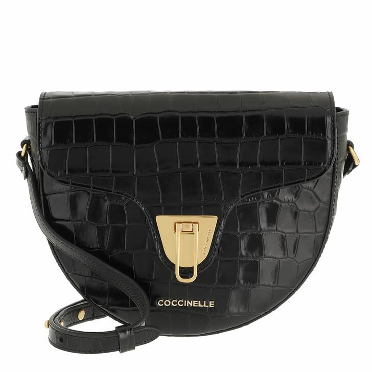 bags, Coccinelle, Coccinelle Beat Handbag Shiny Soft Croco Noir
