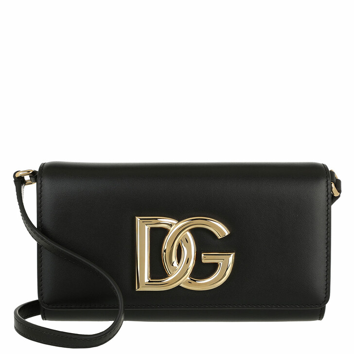 bags, Dolce&Gabbana, DG Logo Clutch Leather Black