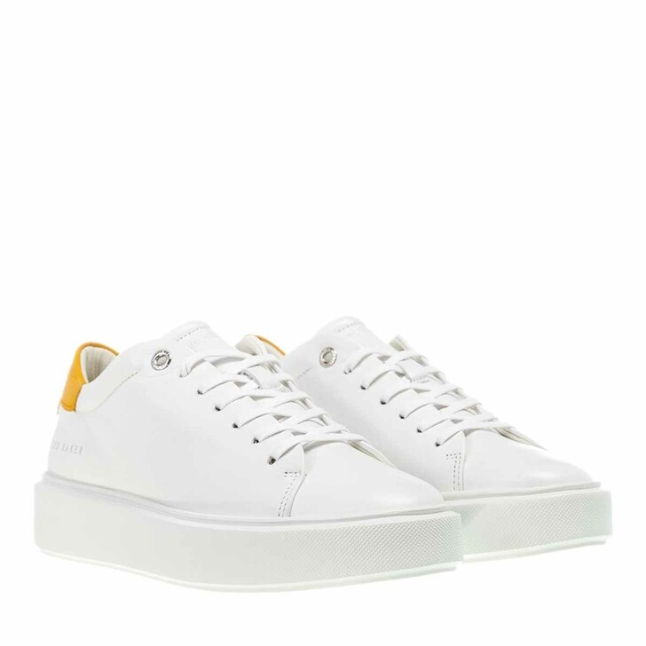 Schuh, Ted Baker, Yinka Leather Platform Trainer White-Yellow