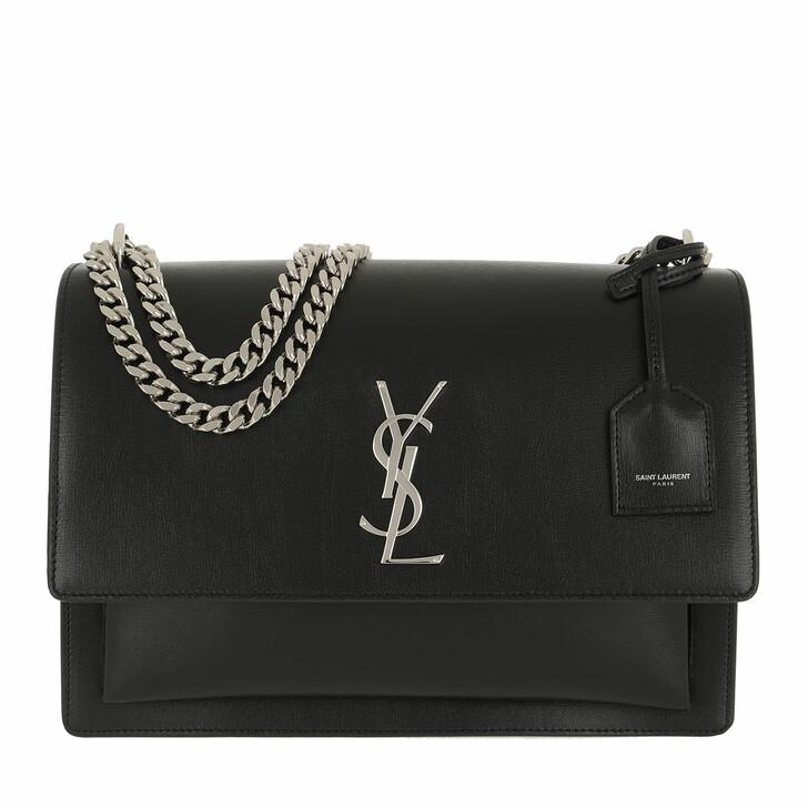 Handtasche, Saint Laurent, Sunset Shoulder Bag Large Leather Black
