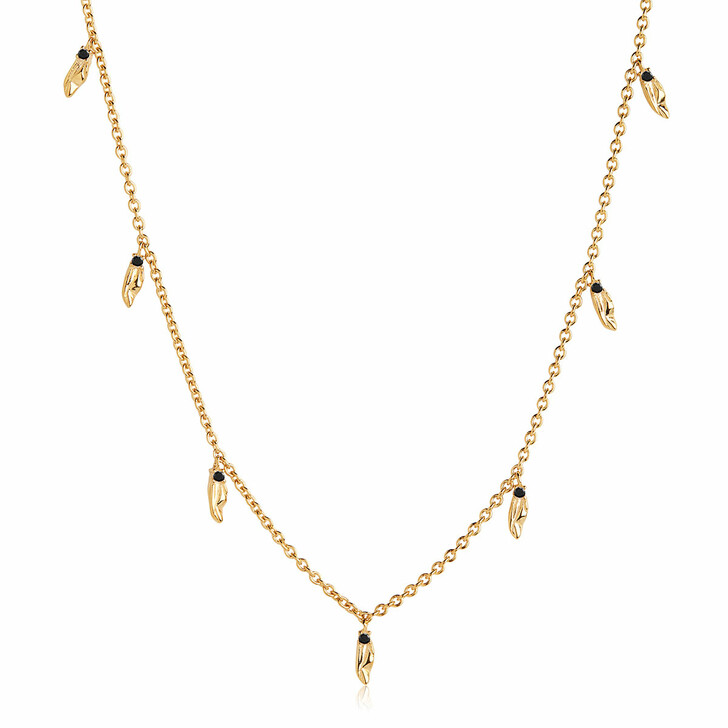 Kette, Sif Jakobs Jewellery, Vulcanello Necklace Black Yellow Gold