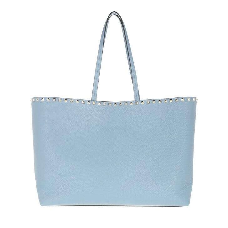 bags, Valentino Garavani, Rockstud Studded Shopping Bag Leather Niagara Blue