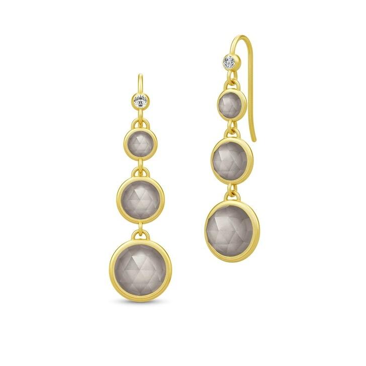 Ohrring, Julie Sandlau, Moon Chandelier Earrings Gold/Grey