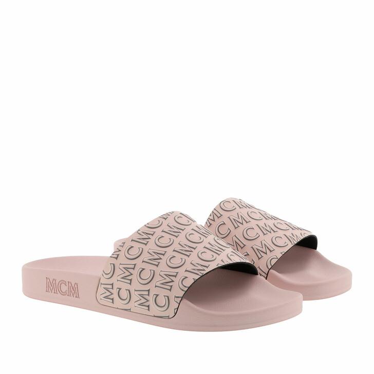 Schuh, MCM, Diagonal Logo Slide Soft Pink