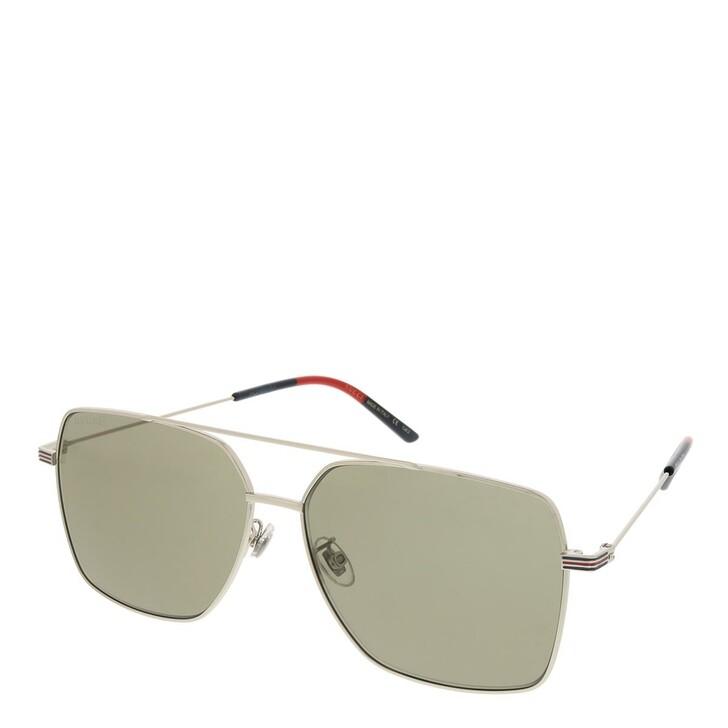 sunglasses, Gucci, GG1053SK-004 61 Sunglass Man Metal Silver-Silver-Brown
