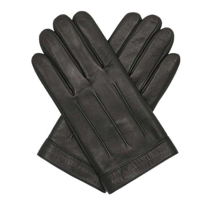 Handschuh, Tommy Hilfiger, Logo Embossed Leather Gloves Black