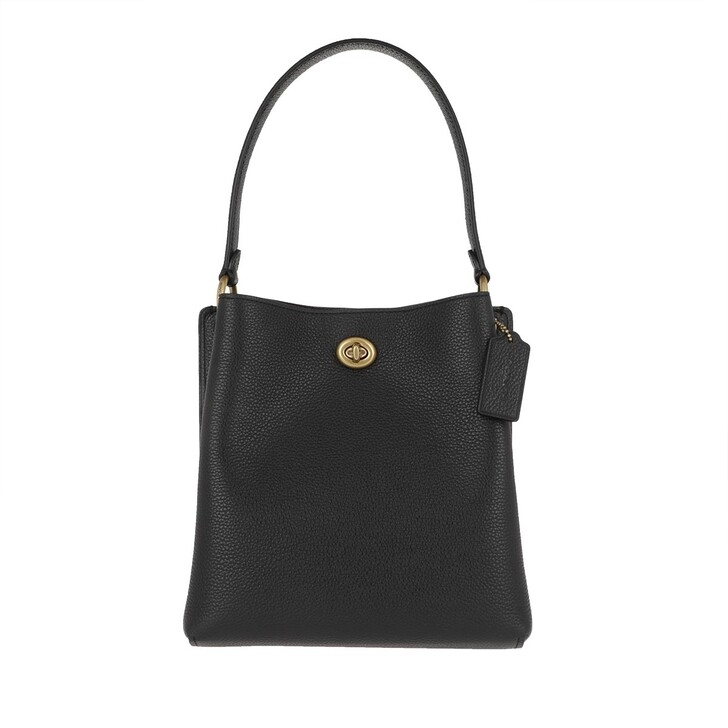 Handtasche, Coach, Polished Pebble Leather Charlie Bucket Bag Black