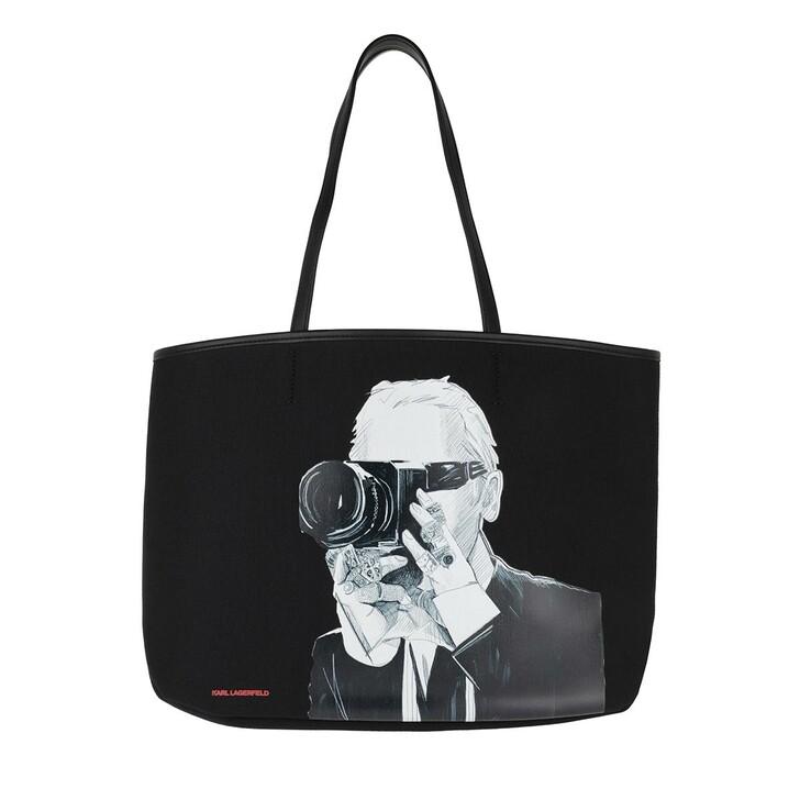 Handtasche, Karl Lagerfeld, Legend Photographer Tote Bag Black