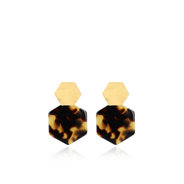 Ohrring, LOTT.gioielli, Earrings Resin Hexagon Closed Small Turtoise Gold