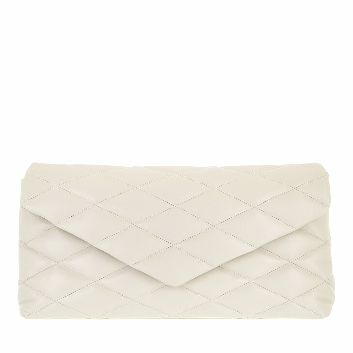 bags, Saint Laurent, Sade Puffer Envelope Clutch Lambskin Blanc Vintage
