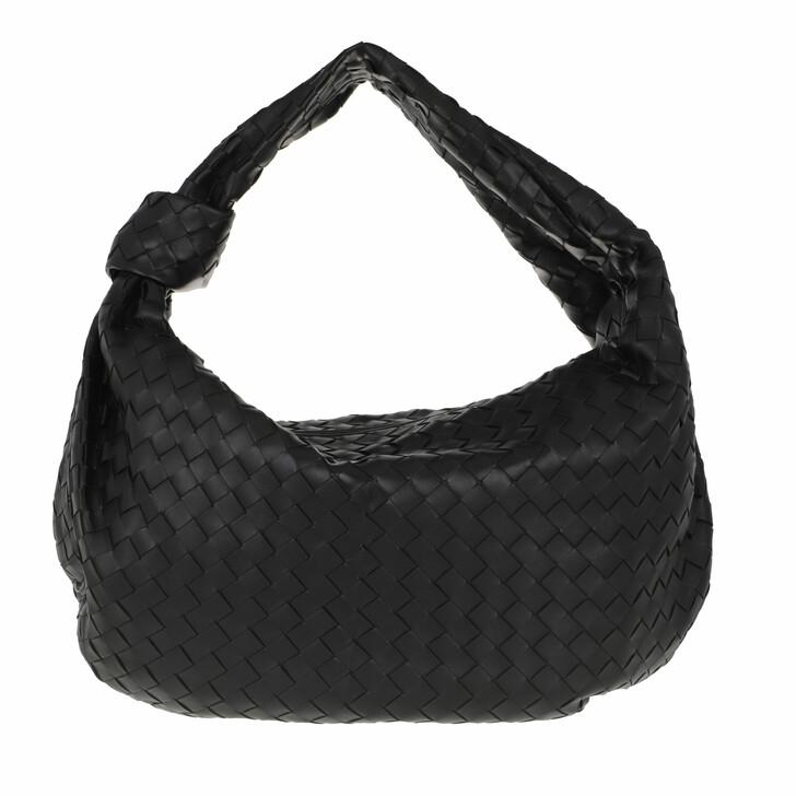 bags, Bottega Veneta, Medium Jodie Rounded Hobo Bag Intrecciato Leather Black