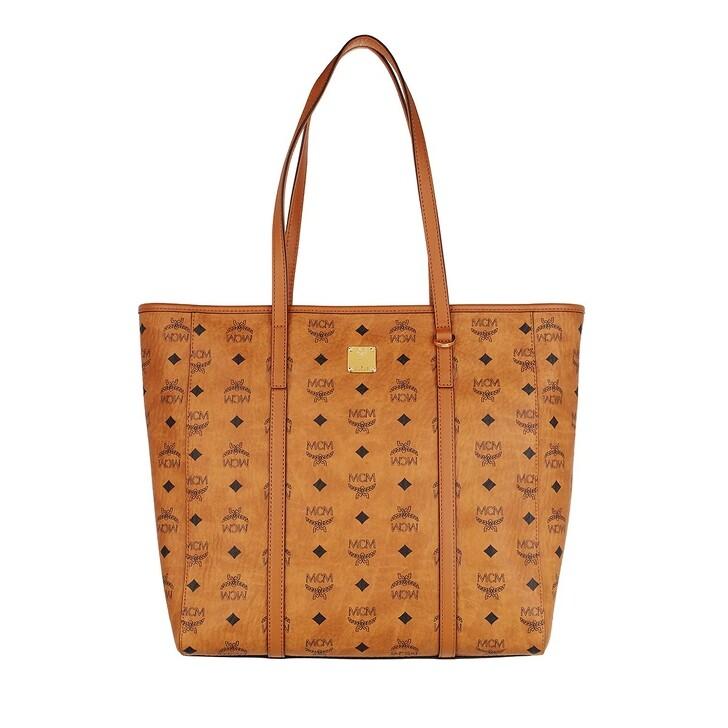 Handtasche, MCM, Toni Visetos Ns Shopper Medium   Cognac
