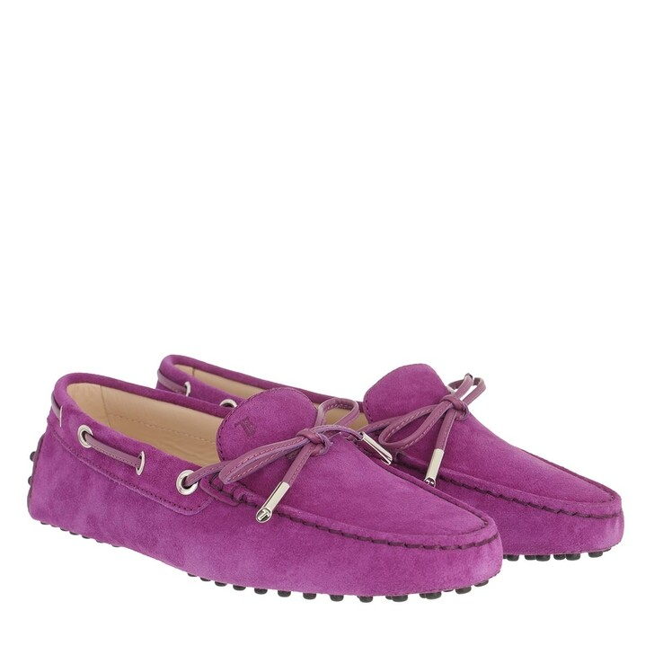 Schuh, Tod's, Heaven Loafer With Eyelets And Lace Bow Grape Juice
