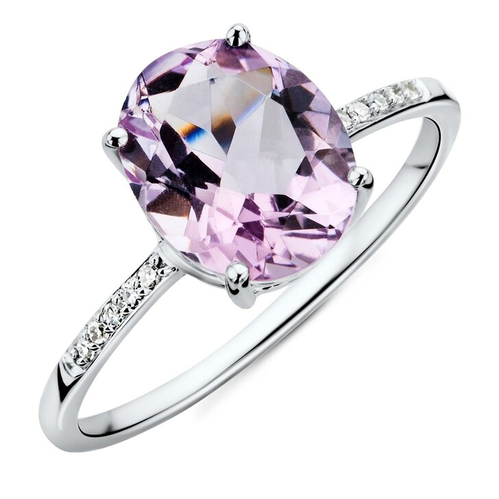 rings, BELORO, 9CT Diamond and Amethyst Ring White Gold