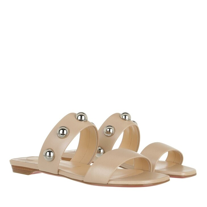 Schuh, Christian Louboutin, Simple Bille Dome Studs Flat Sandals Leather  Nougat Brown/Silver