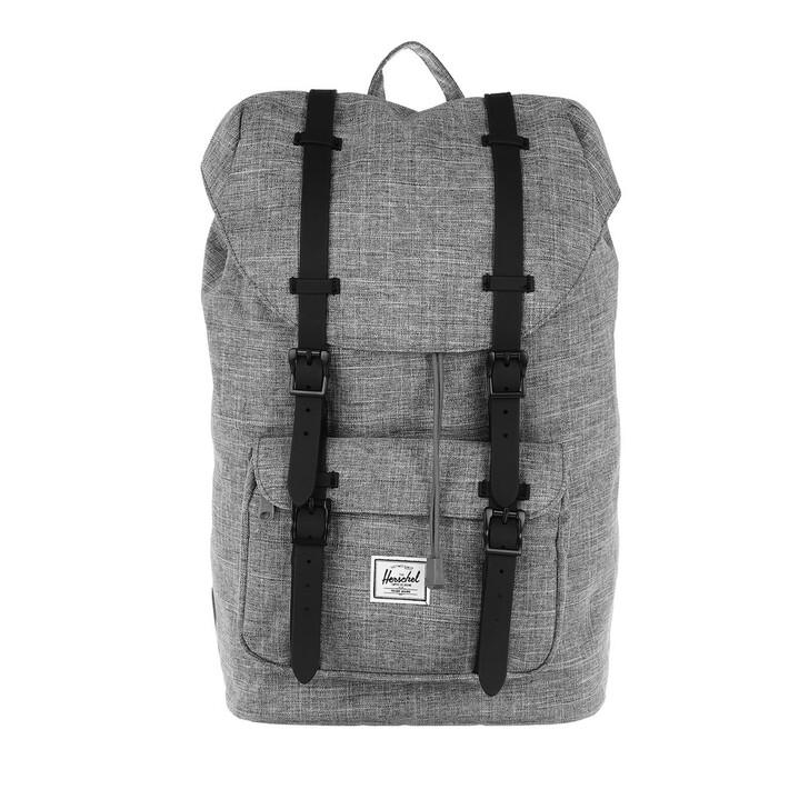 bags, Herschel, Little America Mid-Volume Backpack Raven Crosshatch Black