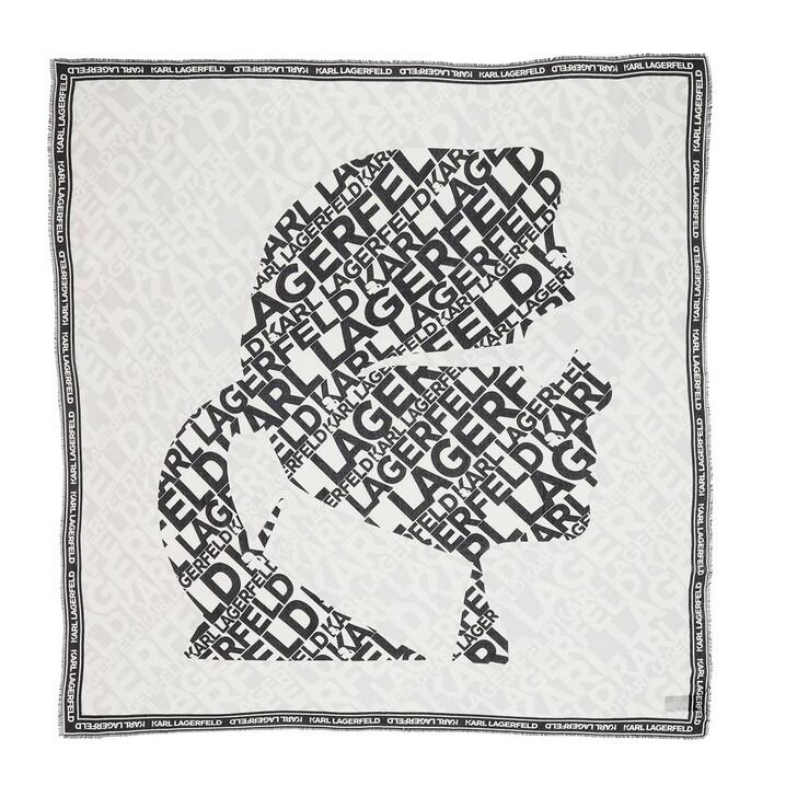 Schal, Karl Lagerfeld, Karl Logo Kameo Scarf White
