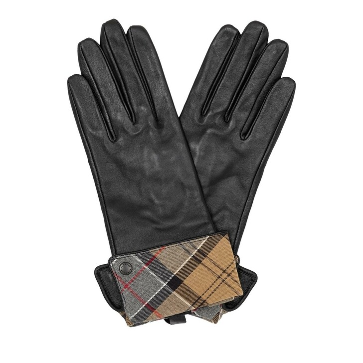 gloves, Barbour, Lady Jane Leather Gloves Black/Dress. Tartan
