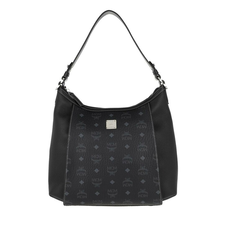 Handtasche, MCM, Luisa Visetos Medium Hobo Bag Leather Black