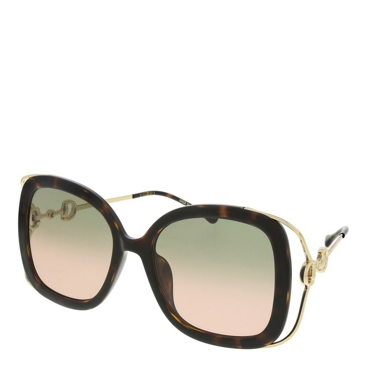 sunglasses, Gucci, GG1021S-001 56 Sunglass Woman Injection Havana-Gold-Green