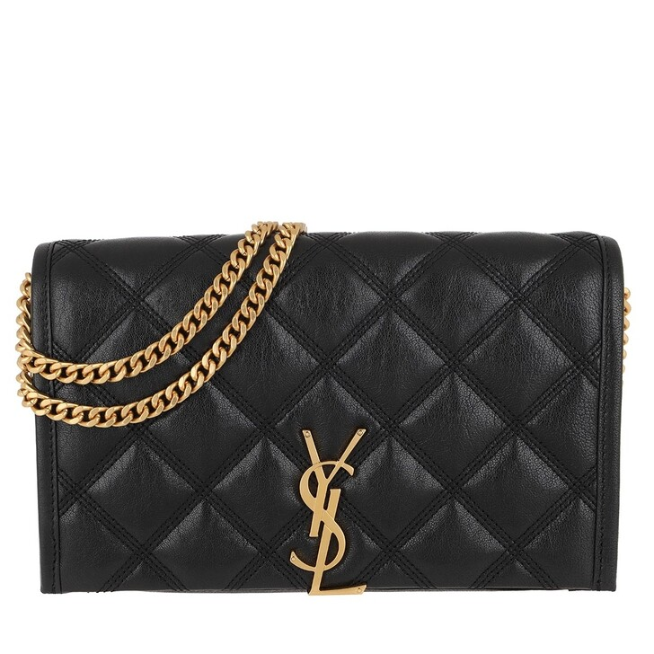 Handtasche, Saint Laurent, Becky Chain Wallet Diamond-Quilted Lambskin Black