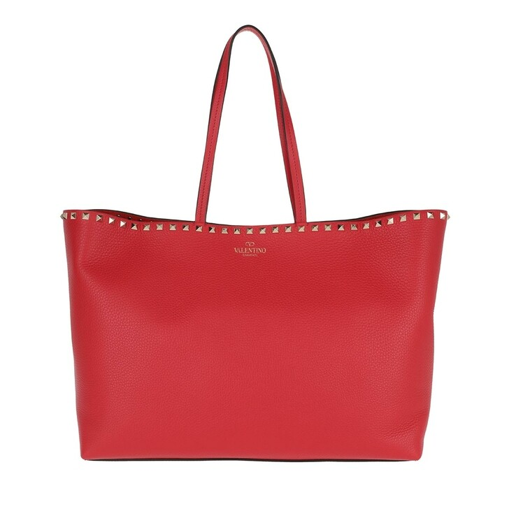 Handtasche, Valentino, Rockstud Studded Shopping Bag Leather Rouge Pur