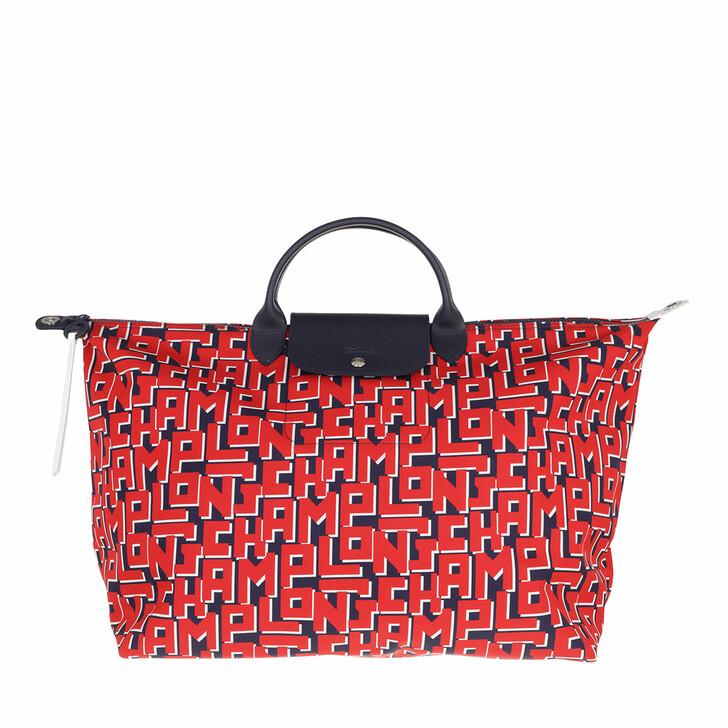bags, Longchamp, Le Pliage LGP Travelbag  Marine/Red