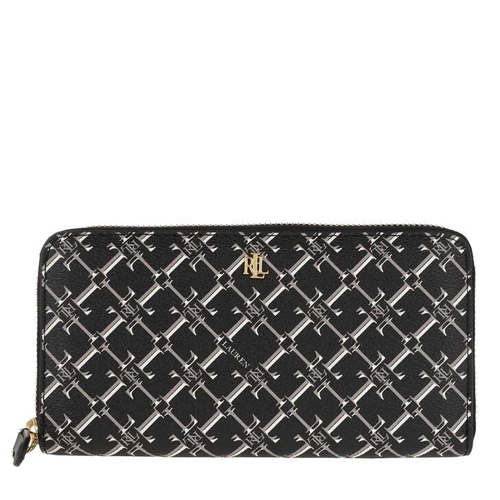 wallets, Lauren Ralph Lauren, Zip Continental Wallet Black Heritage Logo
