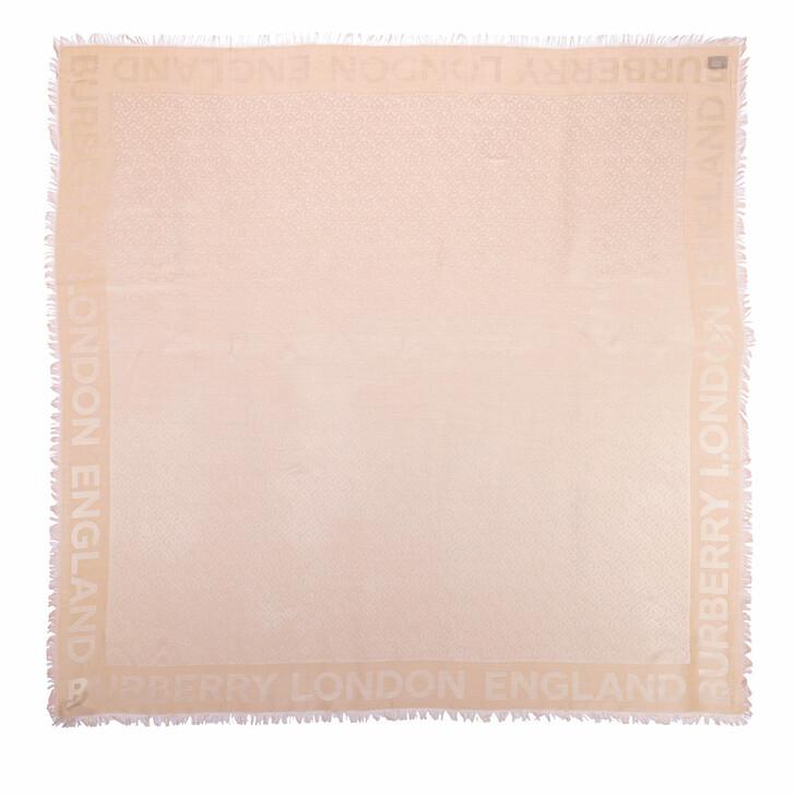 Schal, Burberry, Monogram Silk Wool Jacquard Large Square Scarf Rose Beige