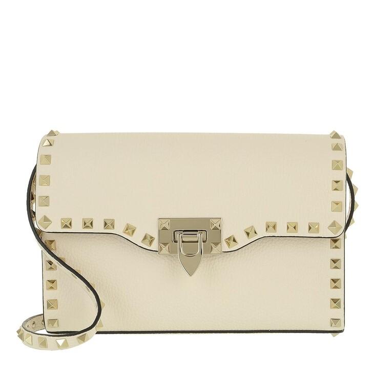 Handtasche, Valentino Garavani, Rockstud Small Crossbody Bag Light Ivory