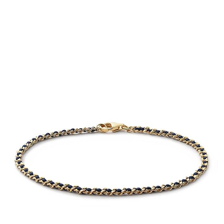 Armreif, Miansai, 2mm Woven Chain Bracelet Gold Vermeil Polished S Navy Blue