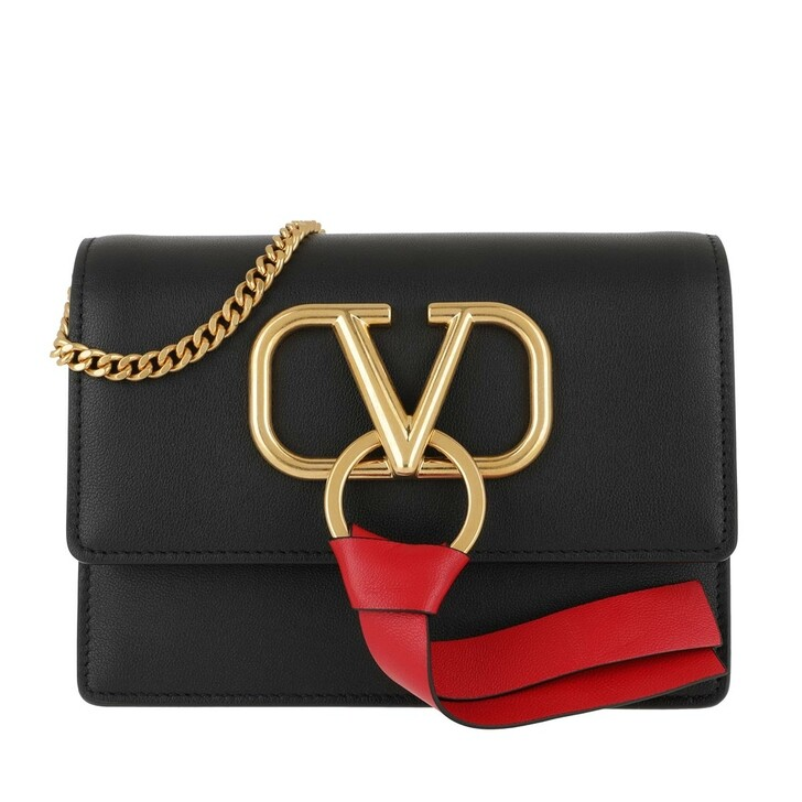 Handtasche, Valentino Garavani, V Ring Crossbod Bag Leather Black/Rouge Pur