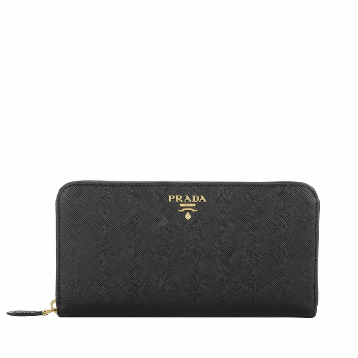 Geldbörse, Prada, Zip Around Saffiano Wallet Nero