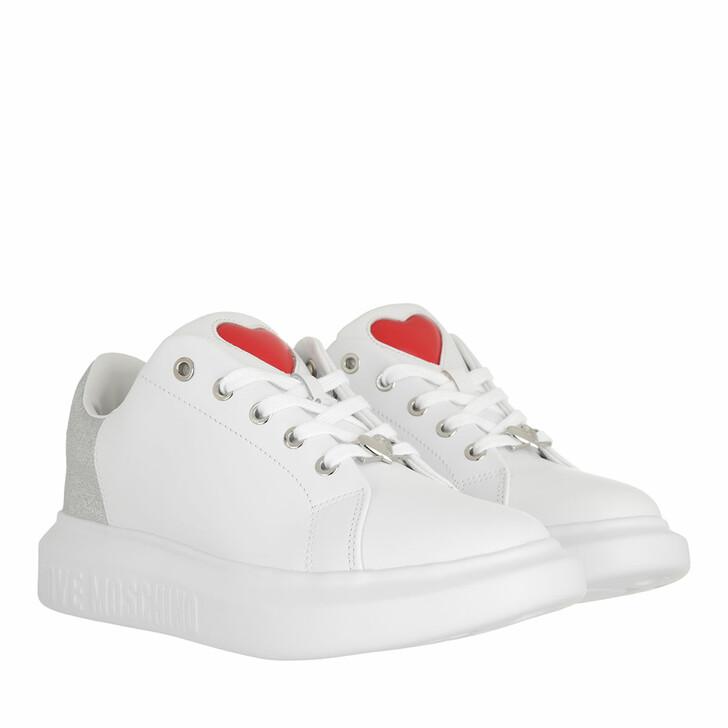 shoes, Love Moschino, Sneakerd Gomma40 Vitello Bianco