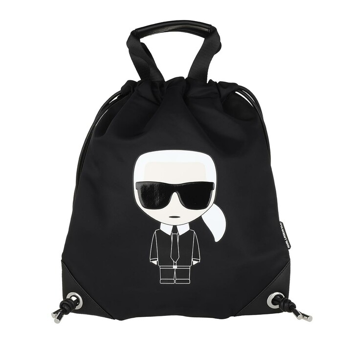 Reisetasche, Karl Lagerfeld, K/Ikonik Nylon Flat Backpack  Black