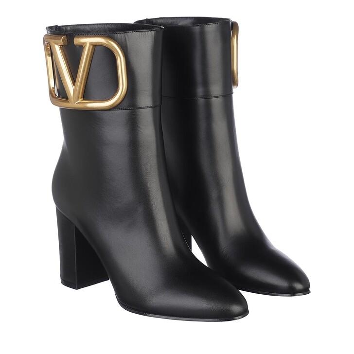 Schuh, Valentino Garavani, V Logo Ankle Boots Leather Black